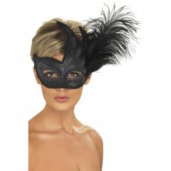 Mascara veneciana rigida negra plumas